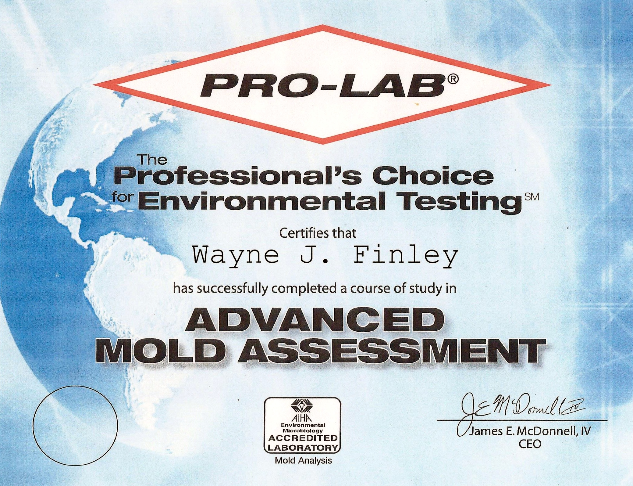 Pro-Lab Advanced Mold Assessment Certificate