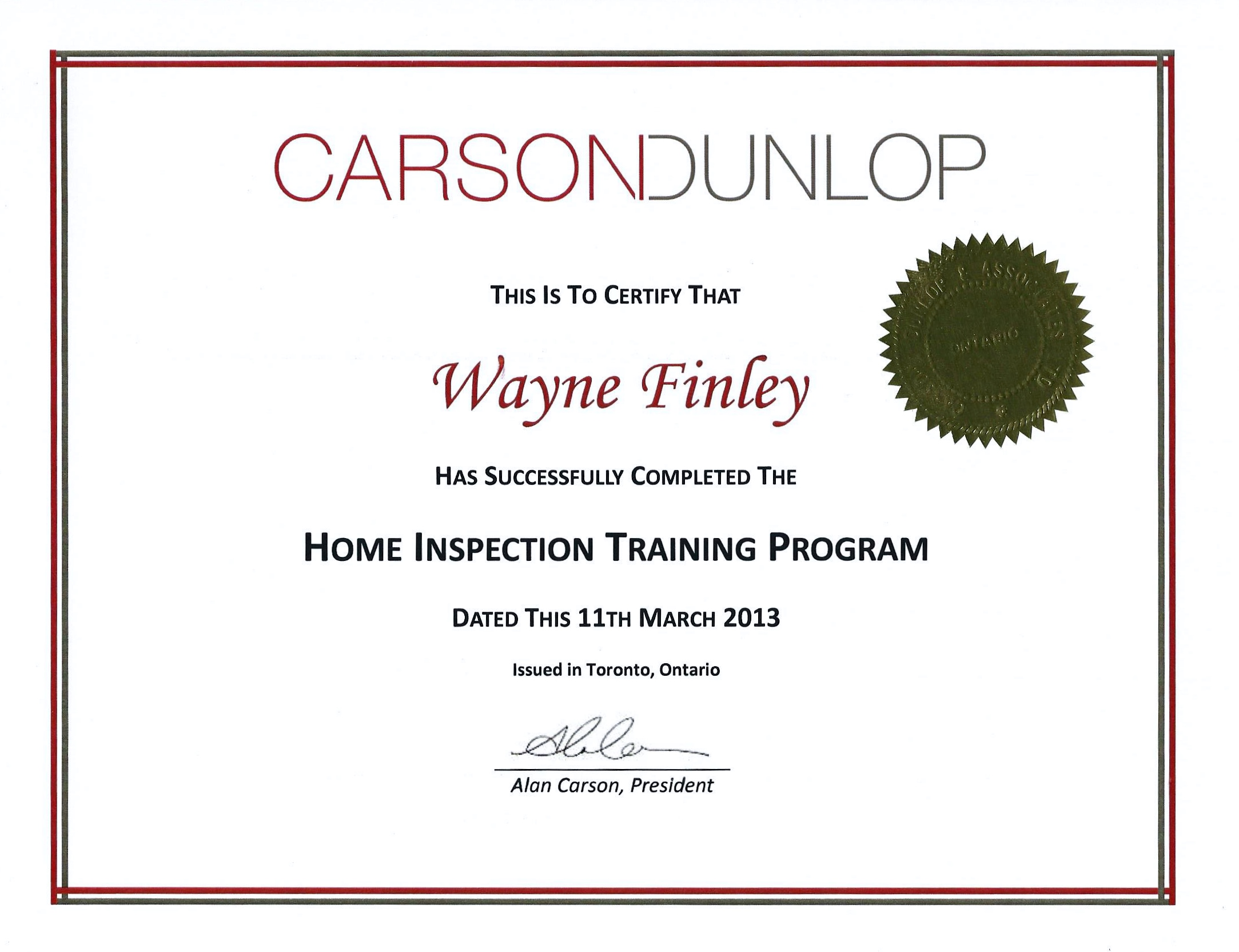 Home Inspector Certification from CarsonDunlap